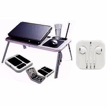 Portable Foldable Laptop E-Table With Cooling Fan with HeadsetWhite