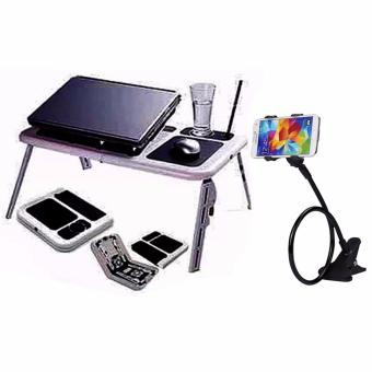 Portable Foldable Laptop E-Table With Cooling Fan with LazypodColor May Vary