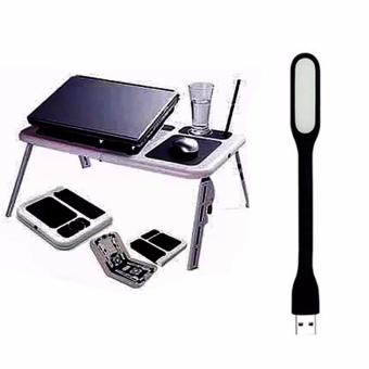 Portable Foldable Laptop E-Table With Cooling Fan with Led lightsColor May Vary