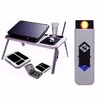 Portable Foldable Laptop E-Table With Cooling Fan with USB lighterColor May Vary