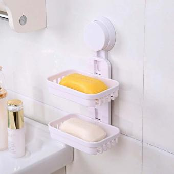 Practical Suction Soap Dish Double-layer Plastic Soap Holder forBathroom color:White - intl