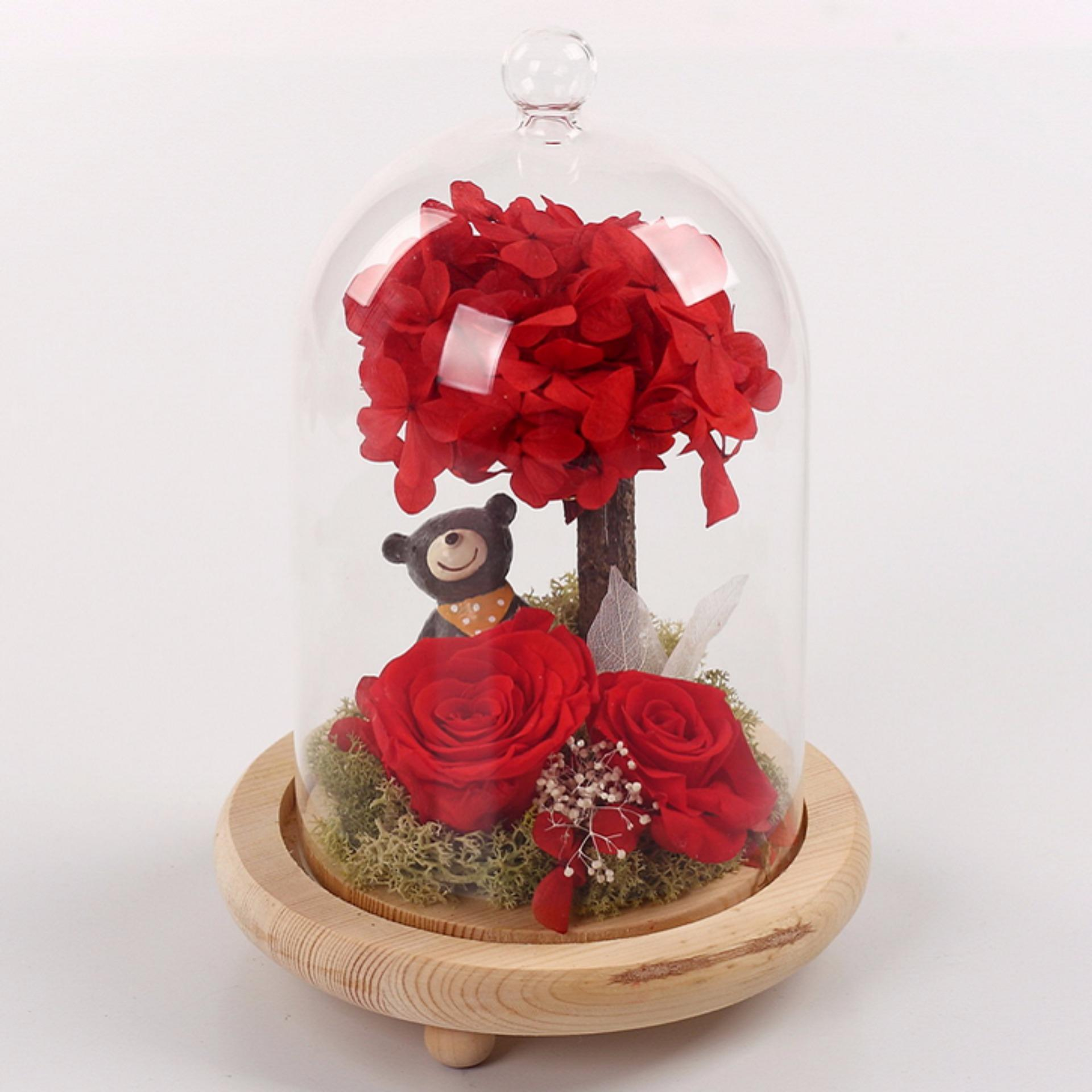 Preserved Rose Flower With Teddy Bear In A Glass Cover Red Lazada Ph