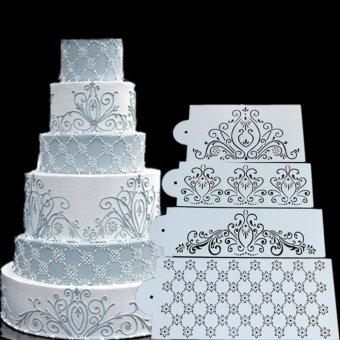Princess Lace Cake Decorating Stencils Fondant Icing Mould FlexiblePlastic Craft Stencils Cake Cupcake Template White - intl - 2