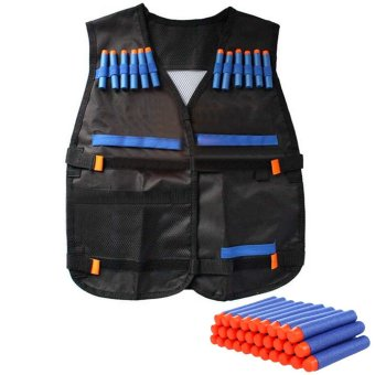 Protective Waterproof Elite Tactical Vest with 100 PCS Blue Darts for Nerf N-strike Elite Series Black - intl Price Philippines
