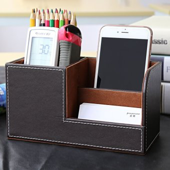 PU Leather 3 Compartment Desk Organizer Card/Pen/Pencil/Mobile Phone Office Supplies Holder Collection Desktop Organizer - intl Price Philippines