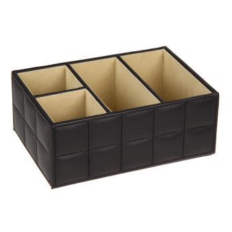 PU Leather Remote Control Phone Holder Home Organizer StorageBoxes(Black)
