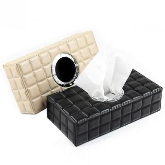 PU Leather Tissue Box Case Paper Holder Car Napkin Holder Beige -intl - 4