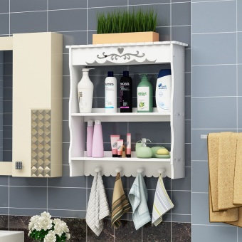 Punched suction wall-mounted toilet storage rack bathroom shelf