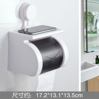 Punched suction wall roll tube toilet paper holder bathroom tissue box