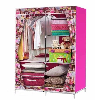 QAZ Fashion Cloth Storage Wardrobe (PINK)