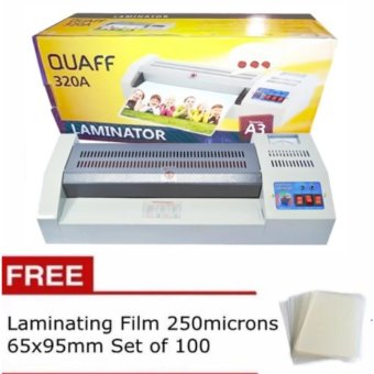 Quaff A3 laminator Heavy Duty Laminating Machine with FREELaminting Film 250microns 65x95mm set of 100