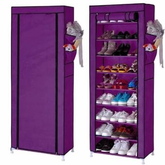 Quality 10 Layer 9 Grid Shoe Rack Storage Shelf Organizer CabinetCover Pockets (Violet)