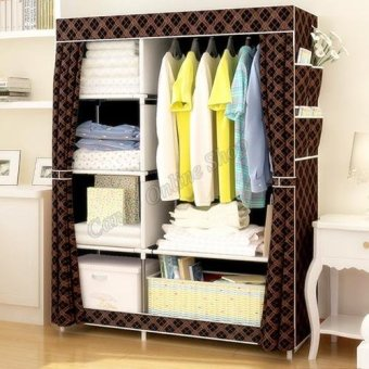 Quality Fashion Multifunction Cloth Wardrobe Storage CabinetsC-77105 (Cool Gold Black)