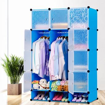 Quality Fashion Simple 12 Doors Multifunction Folding Wardrobe Storage Cabinets (Blue)