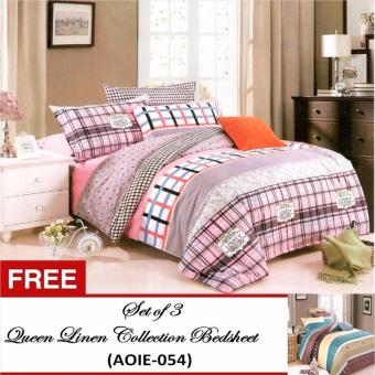 Queen Classic Linen Collection Bedsheet Set of3(AOIE-052)Twin(Single) with Free Queen Classic Linen CollectionBedsheet Set of 3(AOIE-054)Twin(Single)