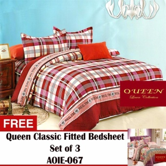 Queen Classic Linen Collection Fitted Bedsheet Set of 3(AOIE-064) with Free Queen Classic Linen Collection Fitted Bedsheet Set of 3(AOIE-067)