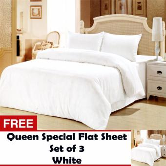 Queen Specials Linen Collection Flat Sheet Set of 3(White)Twin(Single) with Free Queen Specials Linen Collection Flat Sheet Set of 3(White)Twin(Single)