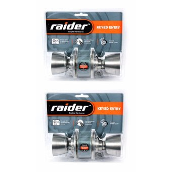 Raider Satin Stainless Steel Flat Handle Door Knob Lockset (2 Sets)