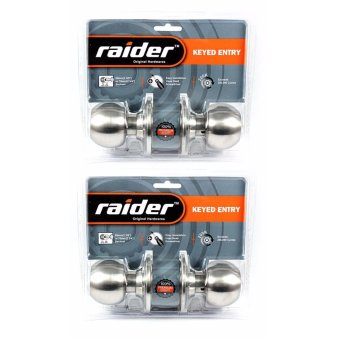 Raider Satin Stainless Steel Round Handle Door Knob Lockset (2Sets)