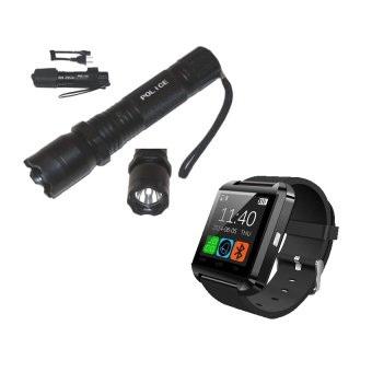 Rechargeable Police Flashlight with Stun Gun Taser (Black) withC-001 Smart Watch (Black)