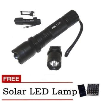 Rechargeable Police Flashlight with Stun Gun Taser (Black) withfree Solar LED Light (Color May Vary) Price Philippines
