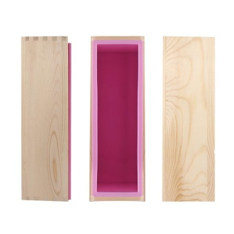 Rectangle Silicone Liner Soap Mould Wooden Box DIY Making Tool Mold- intl