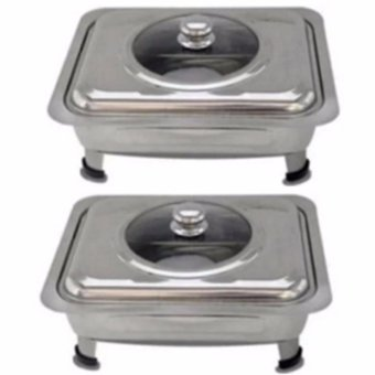 Rectangular Stainless Steel Food Warmer Set of 2 (Silver)