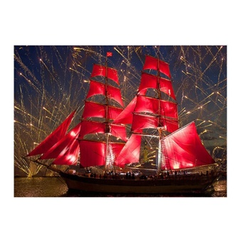 Red Sailboat Full Drill 5D Diamond DIY Painting Craft Home Decor -intl