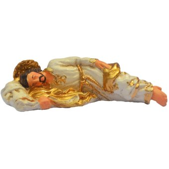 Religious Item Sleeping St. Saint Joseph 10cm Mini in White and Gold Figurine with Pouch (Made of Fiberglass Resin) by Everything About Santa (Christmas decoration and gift suggestion) - picture 2