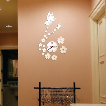Removable Diy Acrylic 3D Mirror Wall Sticker Decorative Clock -intl