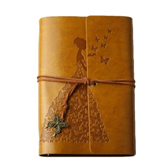Retro Charming Girl Style Kraft Paper Journal Diary NotebookScrapbook Album Book with PU Leather Cover Butterfly Pendant String80 Sheets A6 Size Yellow - intl
