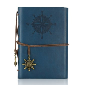 Retro Pirate Style Diary Book Spiral Ring Binder Notepad(Navy Blue)