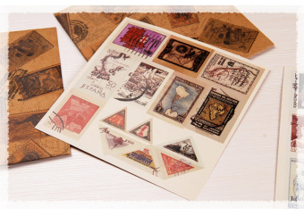 Retro stamps a set of beautiful adhesive paper