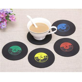 Retro Vinyl CD Album Record Drinks Coasters Bar Table Cup GlassSkid Mat Holder Yellow - intl