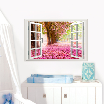 Romantic cherry blossom wall stickers living room bedroom paper sticker fake window