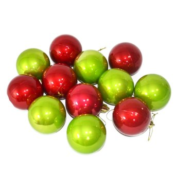 Romantic Christmas Tree Decor Ball 12 pcs. (Red/Green) Price Philippines