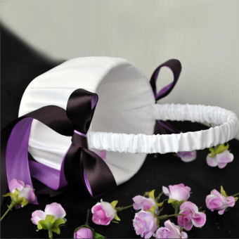 Romantic Wedding Ceremony Flower Girl Basket Satin Bowknot Decor