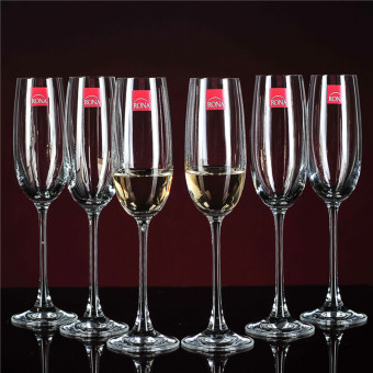 Rona lead-free champagne cup crystal glass of red wine