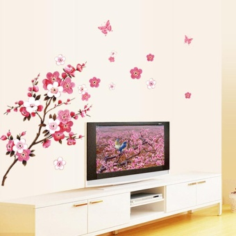 Room Peach Blossom Flower Butterfly Wall Stickers Vinyl Art DecalsDecor Mural - intl - 3