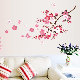 Room Peach Blossom Flower Butterfly Wall Stickers Vinyl Art DecalsDecor Mural - intl - 2
