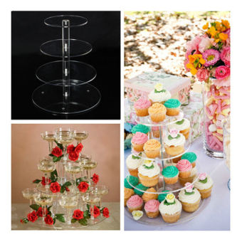 Round Acrylic 4 Tier Cupcake Cake Stand For Birthday Celebration Party Cake Shop - 5