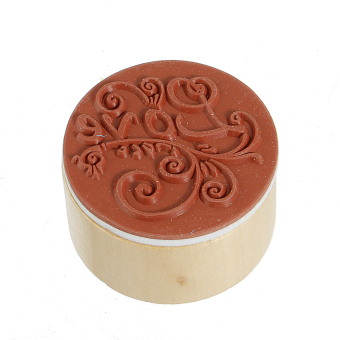 Round Handwriting Wishes Wooden Rubber Stamps Floral Love - picture 2