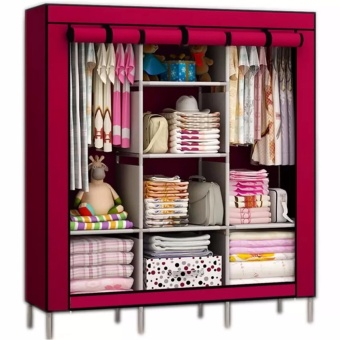 Rukia 88130 Fashion Cloth Storage Wardrobe (Maroon)
