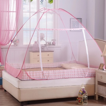 Rukia Classic King Size Double Plain Mosquito Net (Pink) - 3