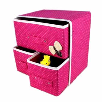 Rukia High Quality 88130 Fashion Cloth Organizer with 3 Door (Grey)with Foldable Non-Woven Fabric Cube with Three Drawers Design(Pink) - 4