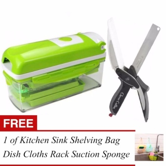 Rukia Original Nicer Dicer Plus Multi Chopper Vegetable CutterFruit Slicer Peeler and Clever Cutter 2 in 1 Kitchen Knife &Cutting Board Scissors Stainless Steel with FREE 1 of Kitchen SinkShelving Bag Dish Rack Suction Sponge Hanging Drain Holder