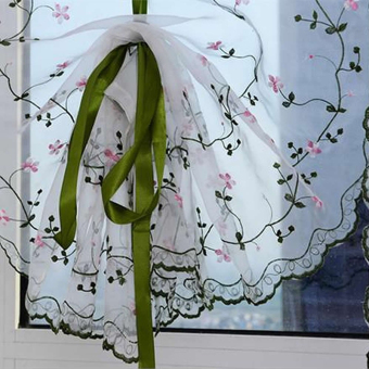 Rural Style Embroidered Floral Shade Sheer Door Cafe Kitchen Window Curtain - 3
