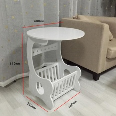 RuYiYu - Small Plastic-Wood White Bed End Table Nightstand BathroomCabinet Kids Furniture Table Bookcase