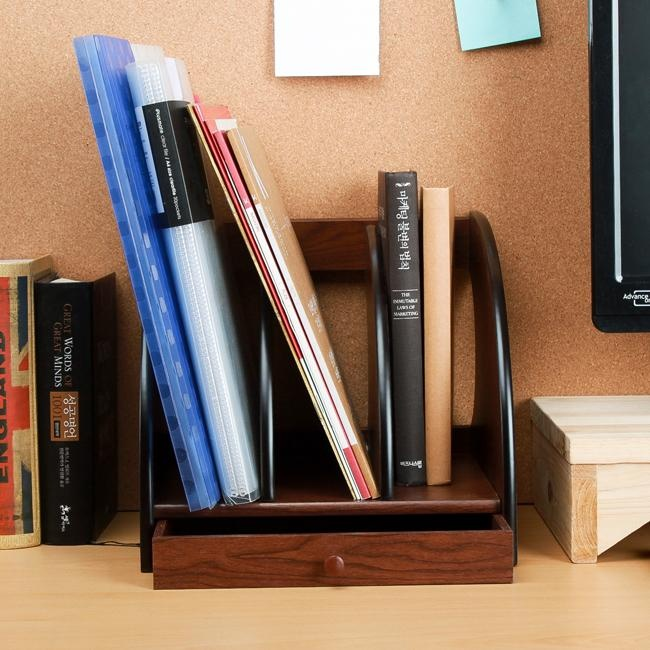 S 2 Wooden Desk Organizer With 3 Compartments And Drawer Doent