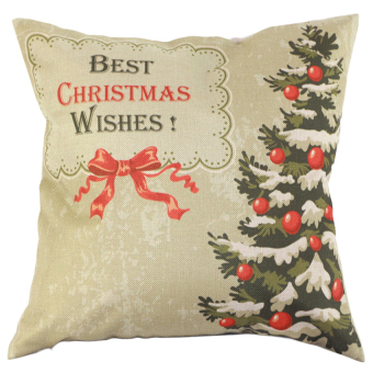 S & F Best Christmas Wishes Bowknot Christmas Tree Cotton Linen Square Shaped Decorative Pillow Cover Pillowcase Pillowslip (Intl)
